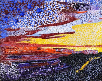 "Print 8 x 10 - ""Pointillism Sunset"" Rincon Beach, California"
