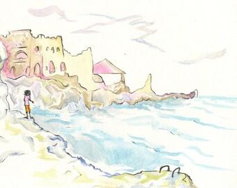 West End Seascape - Original Watercolor