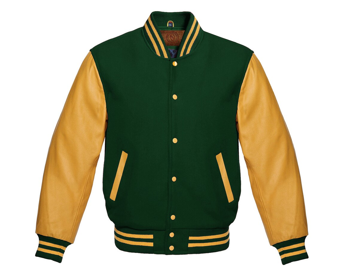 Varsity Jacket Letterman Baseball Bomber Style Forest Green Wool Blend & Gold Genuine Cow Leather Sleeves.