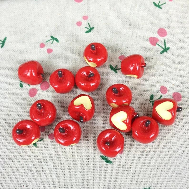 Red Apple Flat Back Resin Cabochon Red Apple W Heart Kawaii DIY Flat Back Embellishment Accessories Scrapbooking Craft:15mm