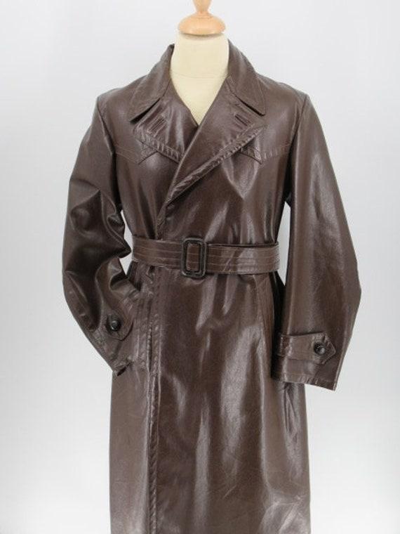 Mens vintage 1940's brown leather trenchcoat
