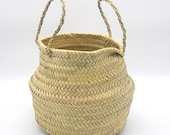 Natural Moroccan palm leaves Belly Basket planter for indoor plants with sisal Handles