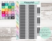 CLR-1 || Custom Color DELUXE MONTHLY Budget / Bill Planner Stickers for 8.5 x 11 Planner (S-980) photo