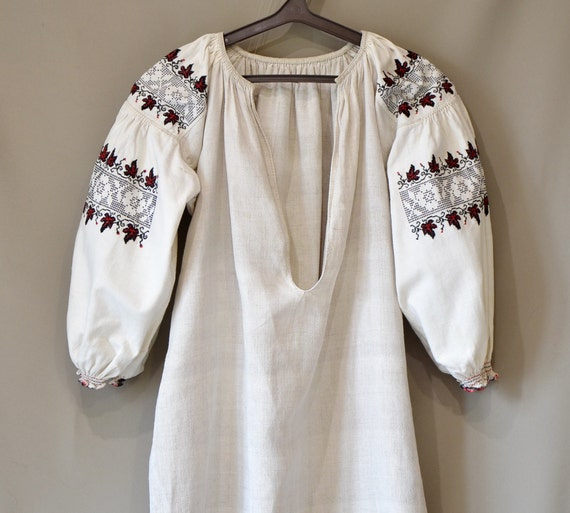 Vintage Ukrainian Dress, Embroidered Vyshyvanka, H