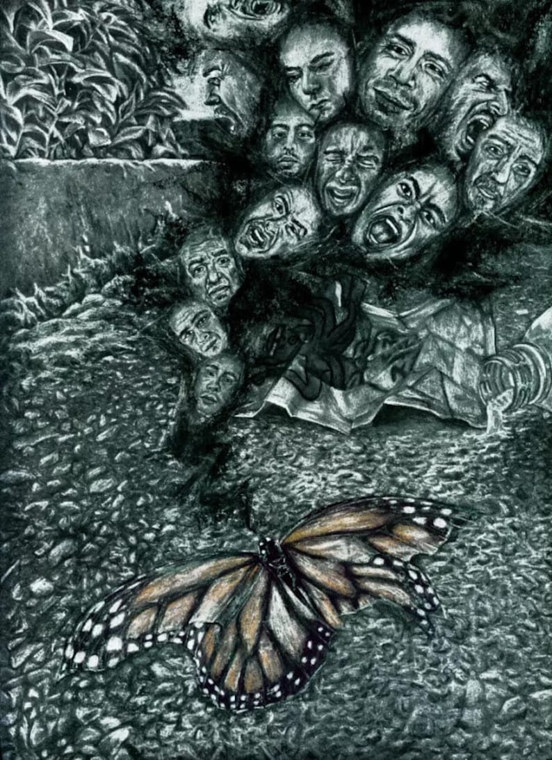 Charcoal Drawing PRINT Dead Butterfly Screaming Faces Pollution 12x 9