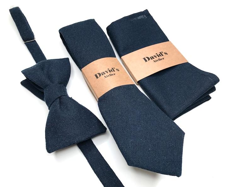 Dark blue Bow tie Black Bow tie Navy Bow Tie Solid Linen Bow tie DUSTYBLUE bow tie IceBlue Bow tie