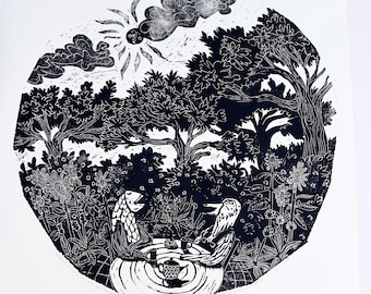 Quality paper Handprinted and Limited Edition Woodcutprint The Teaparty