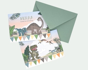 Card for school enrollment Hurray you are a schoolchild with dinosaurs in A6 with envelope to the school bag or gift school start