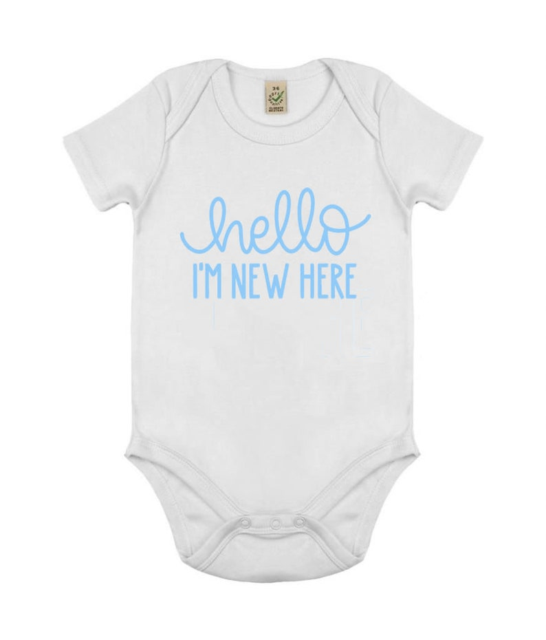 Hello I/'m new here baby vest New baby babygrow Perfect for baby showers