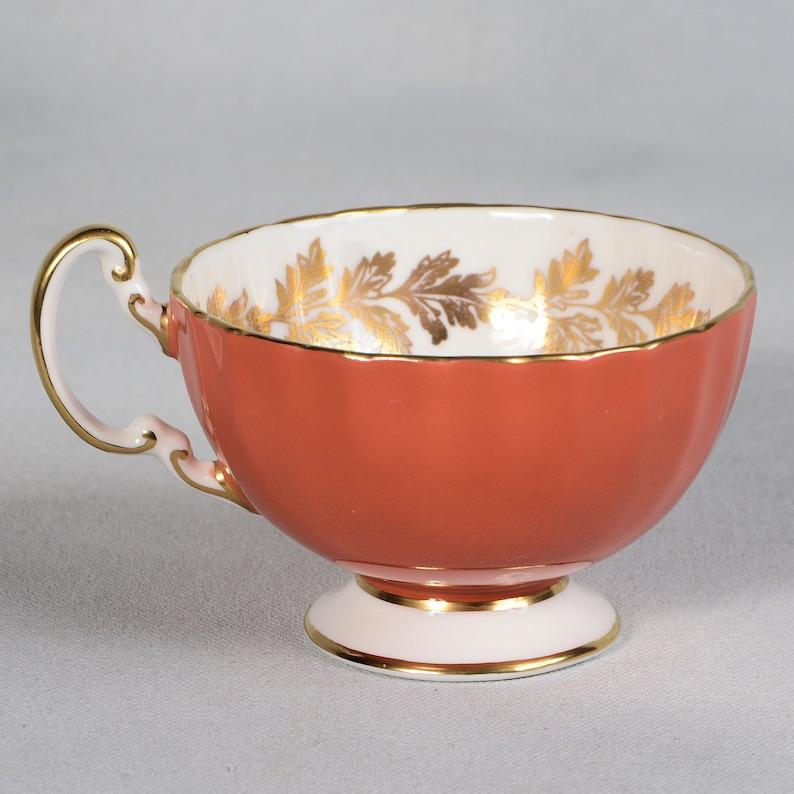 Aynsley Burnt Orange Floral Center Teacup /& Saucer