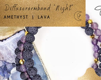 Aromatherapy Bracelet with Gemstone for Essential Oils, Diffuser/Diffuser Bracelet, Women Gift Ideas, Lava Stone, Amethyst