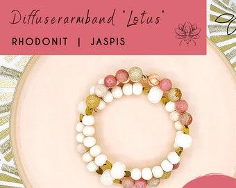 Aromatherapy Bracelet with Gemstone for Essential Oils, Diffuser/Diffuser Bracelet, Women Gift Ideas, Rhodonite, Jasper, Lotus Bodhi Beads
