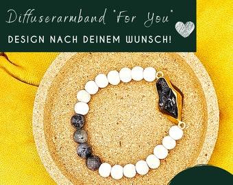 Aromatherapy bracelet with gemstones for essential oils, diffuser bracelet, gift ideas, customizable, custom, quartz