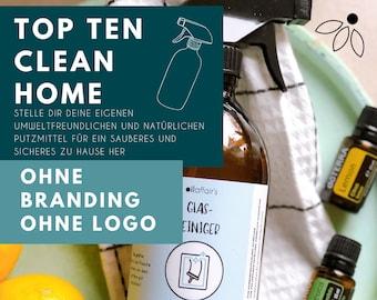 Template / Label für ätherische Öle - Clean Home - Putzmittel - Haushaltsmittel - 10 x - ohne Branding