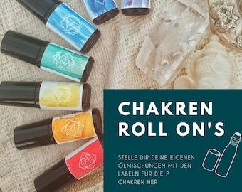 Template / Label für ätherische Öle - Roll-Ons - Rollerlabel - Chakra Chakren