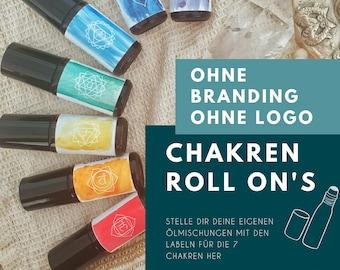 Template / Label für ätherische Öle - Roll-Ons - Rollerlabel - Chakra Chakren - ohne Branding