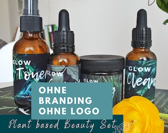 Template / Label for Essential Oils - Plant Based Beauty - Cosmetic Set - 15 Label - Without Branding