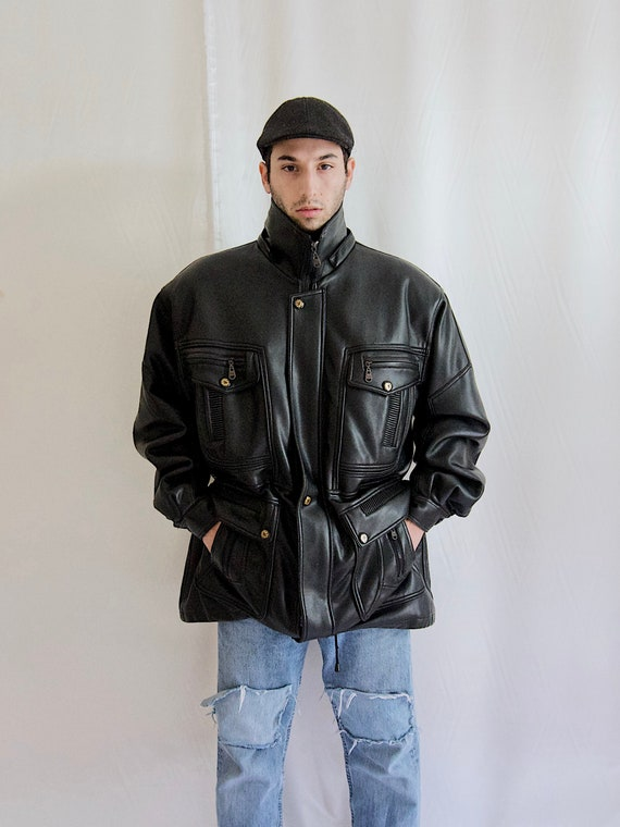 Vintage 80's Leather Jacket Men Leather Jacket Siz