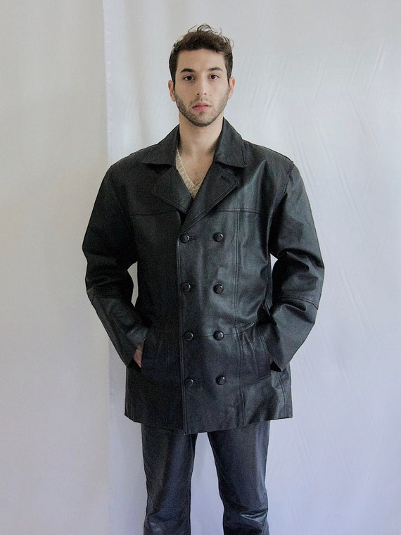 90's Double Breasted Leather Jacket Men Leather Mi