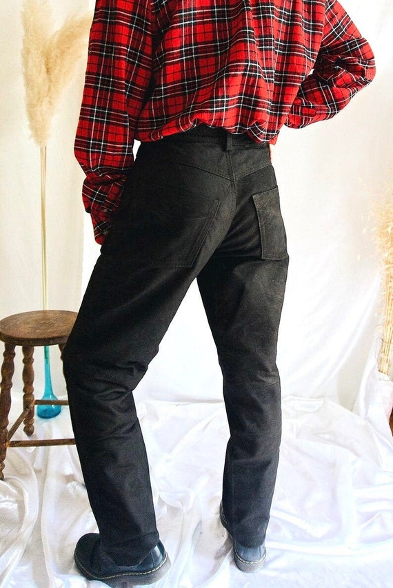 Stocked Leather Trousers Vintage Dark Brown Leathe