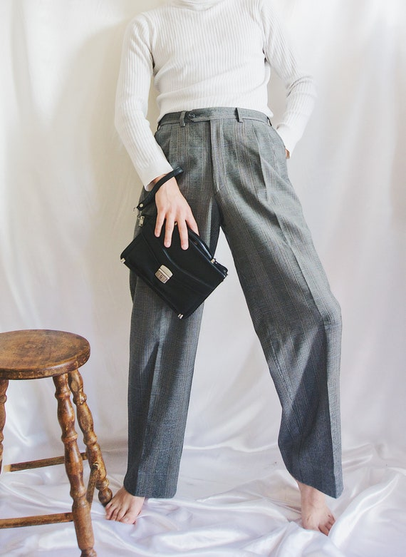 90's Plaid Gray Trousers