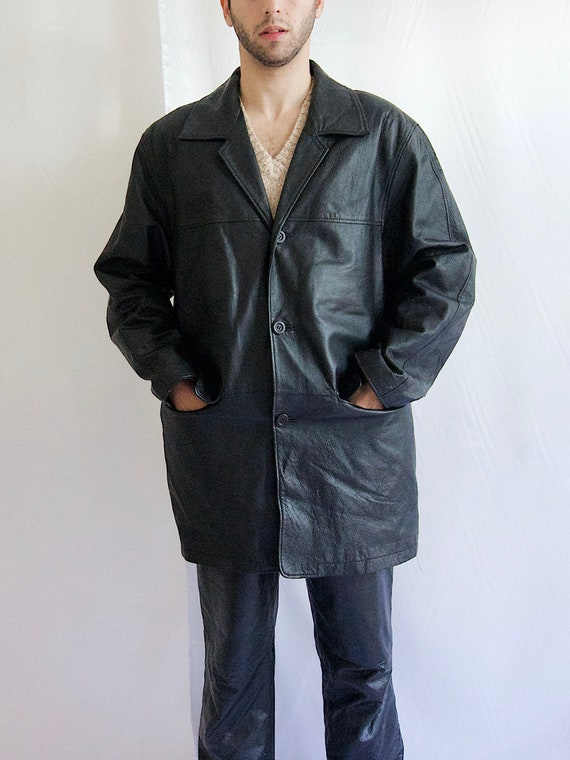 90's Leather Mid Coat Men Leather Coat Buttons Dow