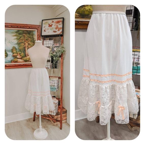 Vintage skirt petticoat Nylon tricot lace petticoa