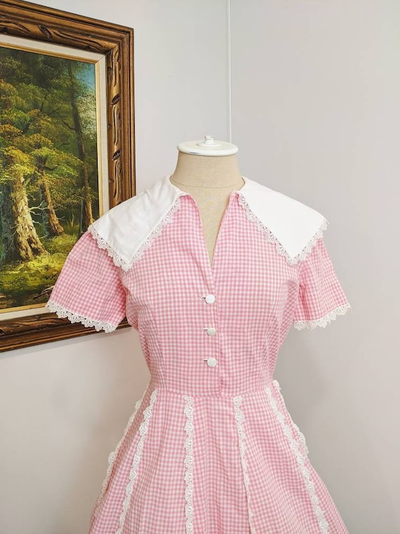 Pink Gingham 1950s vintage summer and spring Easte