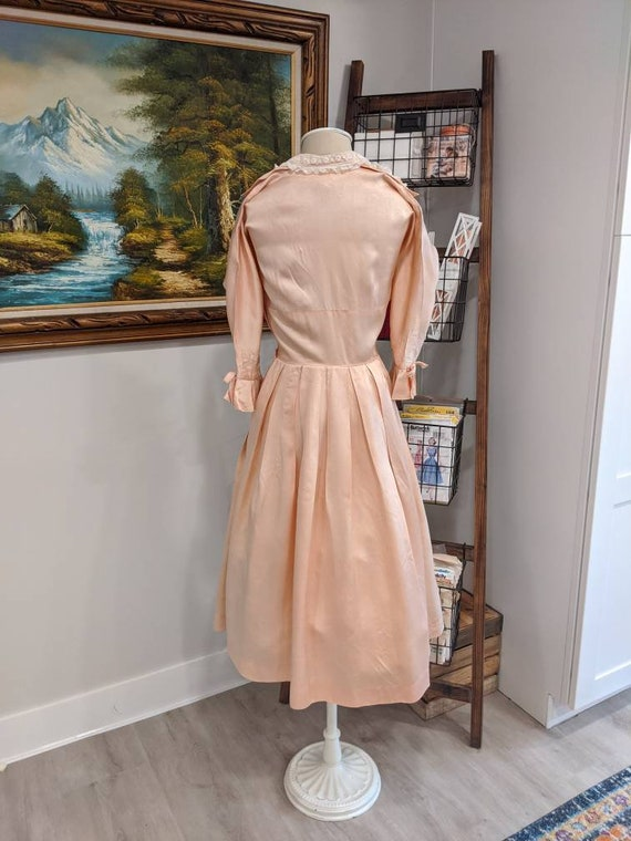 Vintage 1930s 1940s or 1950s blush Pink peach sil… - image 3