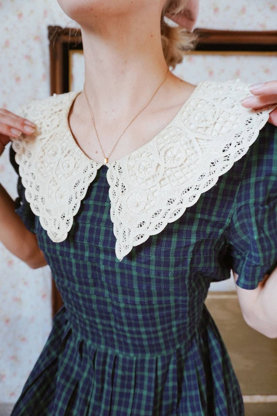 Vintage Plaid Lace Collar Schoolgirl Dress - image 1