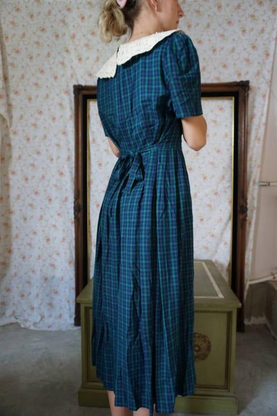 Vintage Plaid Lace Collar Schoolgirl Dress - image 4