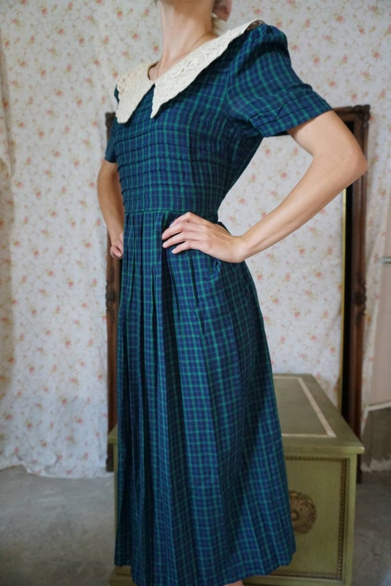Vintage Plaid Lace Collar Schoolgirl Dress - image 3