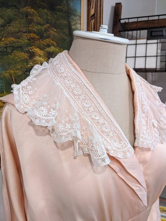 Vintage 1930s 1940s or 1950s blush Pink peach sil… - image 5