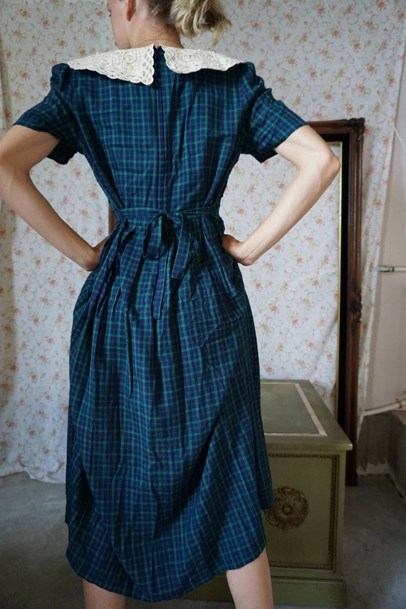 Vintage Plaid Lace Collar Schoolgirl Dress - image 6