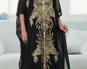 Elegant Dubai Maxi Abaya Moroccan Kaftan Arabic Caftan Modern Farasha Bell Sleeve Machine Work With Zari Wok For Women Party Wear Dress