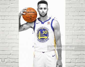 Stephen Curry Warriors (v3) Poster, Canvas, Basketball print, Sports wall art, Kids room decor, Man Cave, Gift
