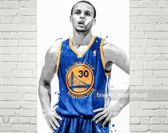 Stephen Curry Poster, Canvas, Basketball print, Sports wall art, Kids room decor, Man Cave, Gift