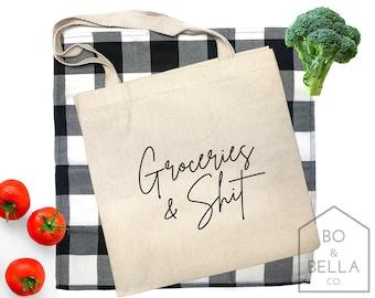 Groceries and Shit Grocery Bag SustainableReusableCanvasFunnyMachine EmbroideredOOAKFunny StuffGift BagBirthdaySnarkyMothers Day
