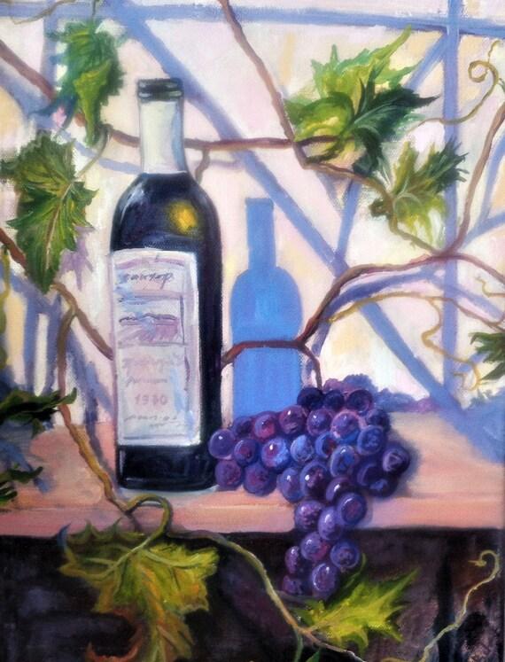 Wine painting original painting on canvas Grape still life Original artwork by inna Bebrisa