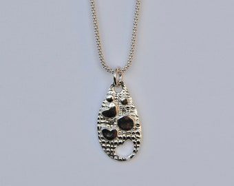 Hearts Circle Teardrop Sterling Silver Popcorn Chain Precious Metal Clay Unique Fine Silver Teardrop Heart and Circle Necklace