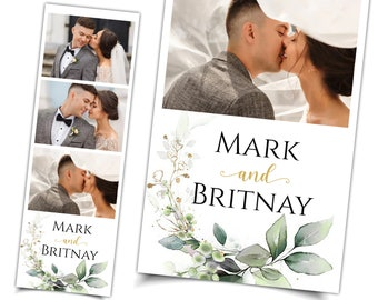 Wedding Greenery Photo Booth 2x6 Template Strip Bohemian Tropical Bridal Shower Baby Shower