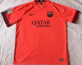 Fcb Barcelona Nike Dri Fit Qatar Foundation Jersey Mens Medium Etsy