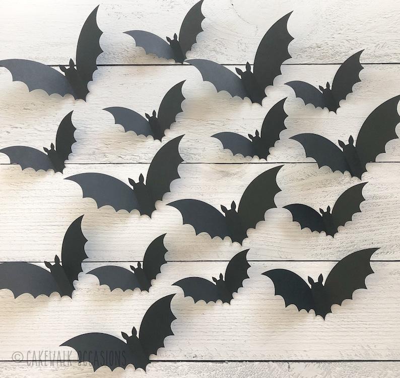 Halloween Bats Black Flying Bats 3D Wall Bats Halloween image 3