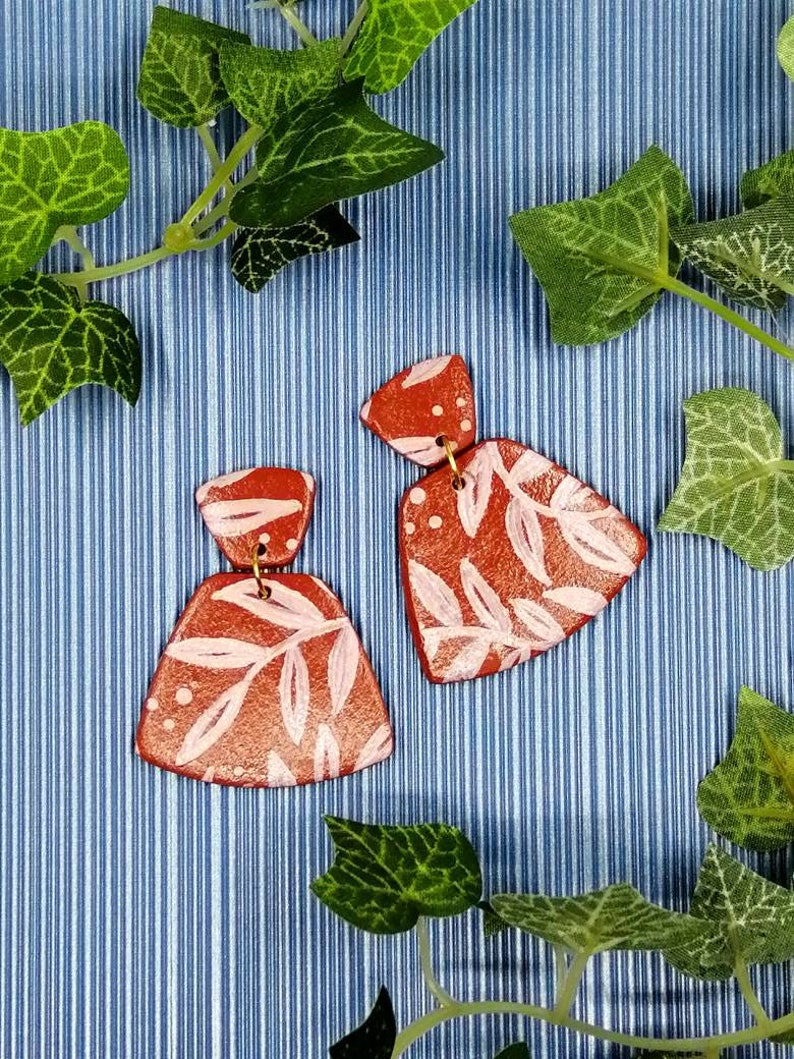 Topo-Leaf Hand Painted Red and Pink Leaf Large Fan Polymer Clay Earrings