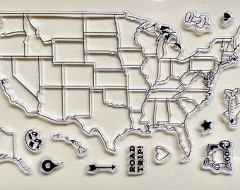 Clear Silicone Stamp Map of USA Travelers Notebook stamp set,Travel Journal United States America Clear Stamp Travel Wanderlust stamp set