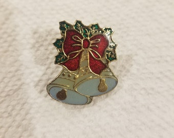 Excellent Cond. 1-34 X 2 W Rhinestones Green Enamel Maker Mark Christmas Bells Pin SFJ Bells Brooch Red Roll Over Clasp Gold Tone