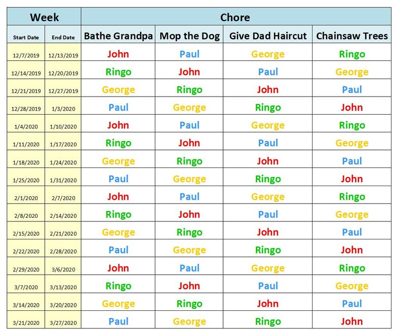 Weekly Chore Chart Excel Template | Etsy