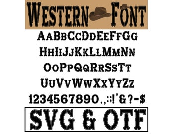 Western Font SVG Western Alphabet Western Letters Western Cricut Silhouette Western Svg Western Font Western Gift Western Clipart Wild West