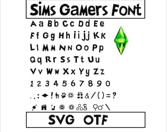 The Sims Font The Sims Svg The Sims Otf The Sims Letters The Sims Alphabet Video Game Font Birthday Gift The Sims Cricut Cricut Silhouette