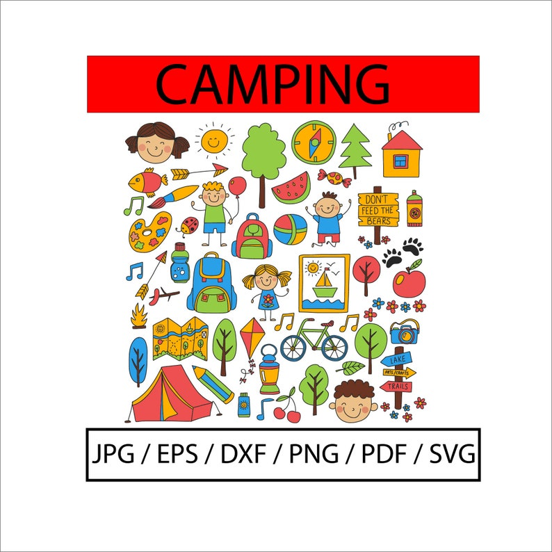 Pdf Outdoor Icon Illustration Printable Pattern Kids,Digital Printable Wall Art Eps Jpg Camping Icon Svg Collection Png Cricut file